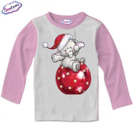 Детска блузка в розово Коледни топки и слонче