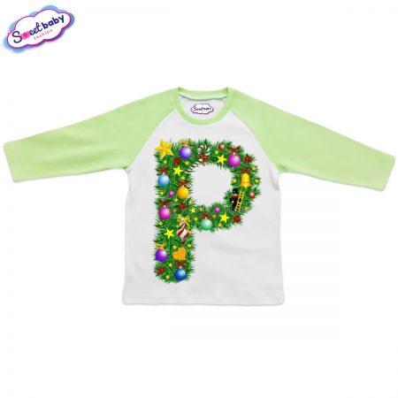 Детска блузка зелено Р Коледа