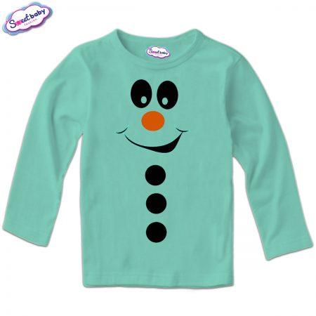 Детска блузка мента Снежен човек копчета
