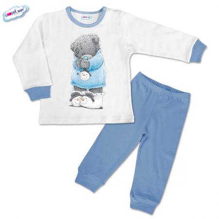 Детска пижамка в синьо Снежен мечо