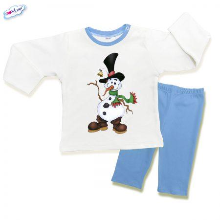 Детска пижамка в синьо Снежен човек