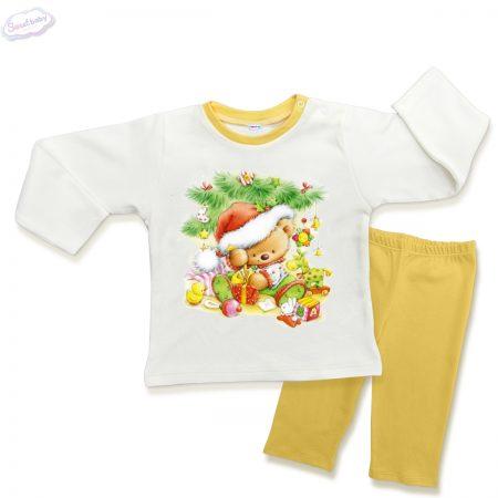 Детска пижамка жълто Мечо под елхата