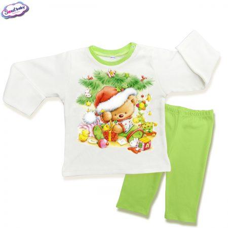 Детска пижамка зелено Мечо под елхата