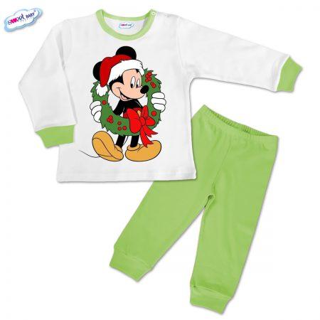 Детска пижамка зелено Мики с коледен венец