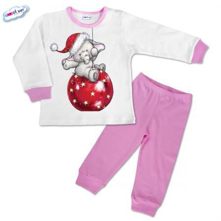 Детска пижамка розово Коледни топки и слонче