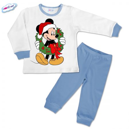 Детска пижамка синьо Мики с коледен венец