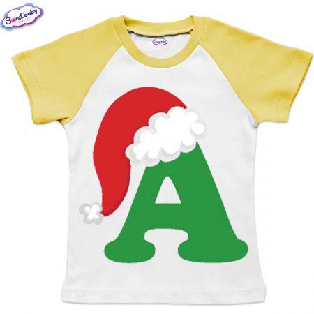 Детска тениска бяло жълто А шапка