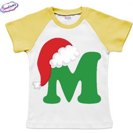 Детска тениска бяло жълто М шапка