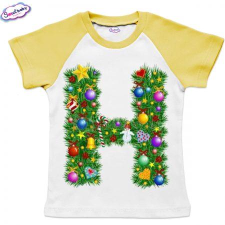 Детска тениска бяло жълто Н Коледа