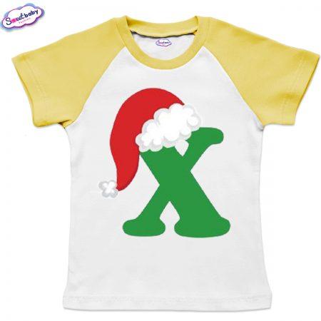 Детска тениска бяло жълто Х шапка