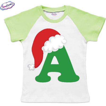 Детска тениска бяло зелено А шапка