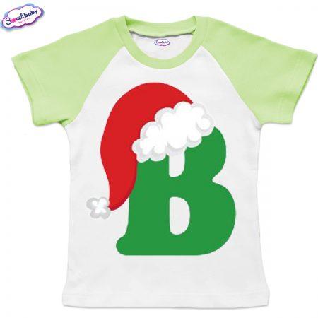 Детска тениска бяло зелено В шапка