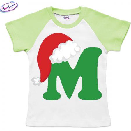 Детска тениска бяло зелено М шапка
