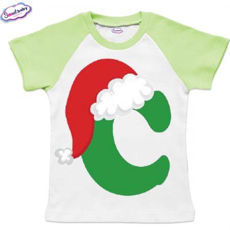Детска тениска бяло зелено С шапка