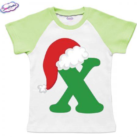 Детска тениска бяло зелено Х шапка
