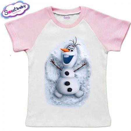 Детска тениска бяло розово Олаф