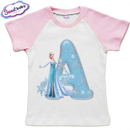 Детска тениска в бяло и розово А