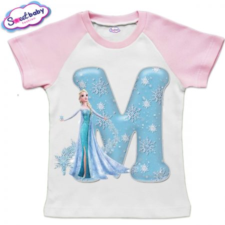 Детска тениска в бяло и розово М