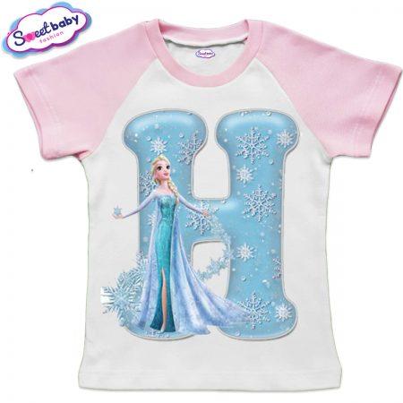 Детска тениска в бяло и розово Н