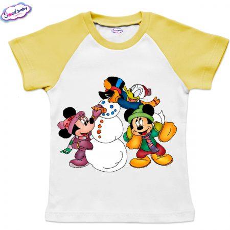 Детска тениска жълто Мики Маус Коледа