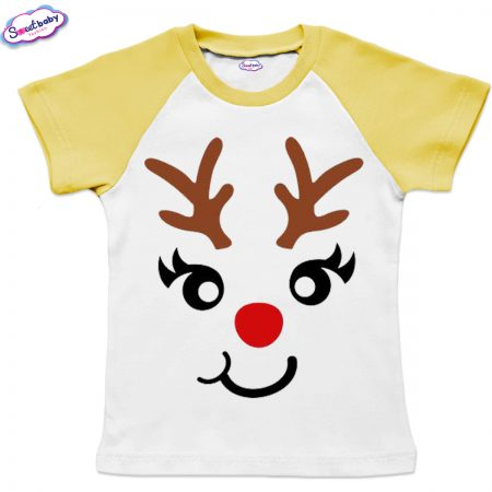Детска тениска жълто бяло Еленмаска