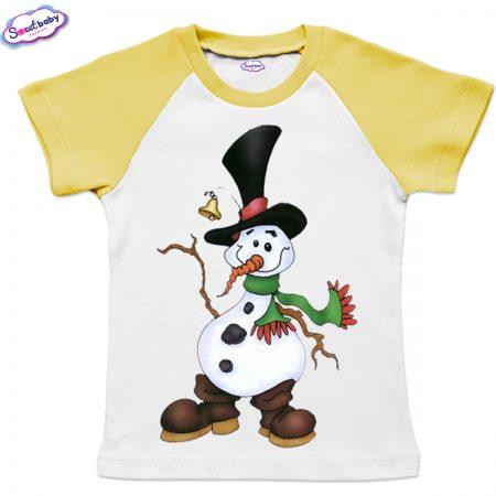Детска тениска жълто бяло Снежен човек