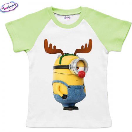 Детска тениска зелено Миньон с рогца