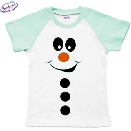 Детска тениска мента Снежен човек копчета