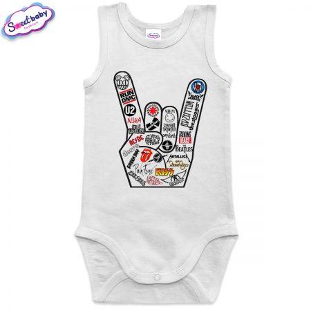 Бебешко боди потник бяло Roock music