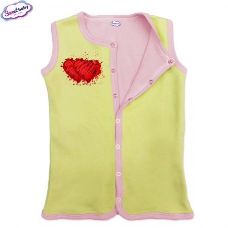 Бебешко елече жълто-розово Две сърца