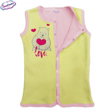 Бебешко елече жълто-розово Мече сърце