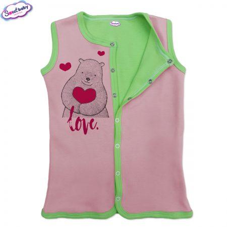 Бебешко елече розово-зелено Мече сърце