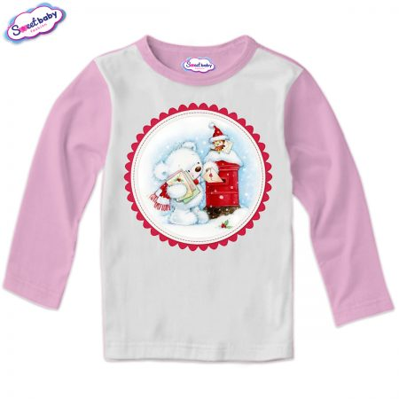 Детска блуза в розово Коледни писма