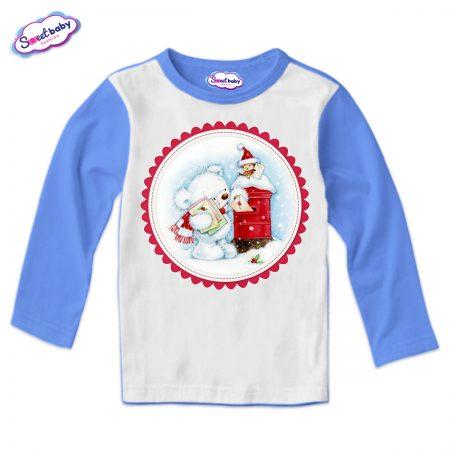 Детска блуза в синьо Коледни писма