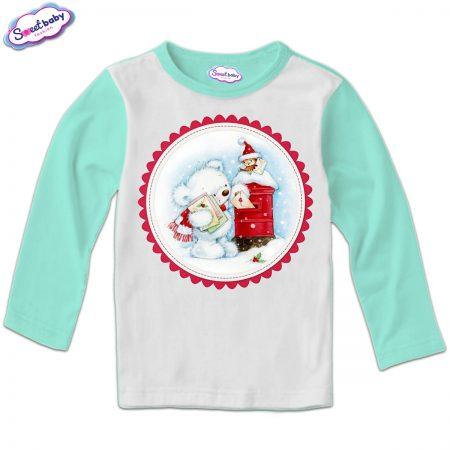 Детска блузка в мента Коледни писма