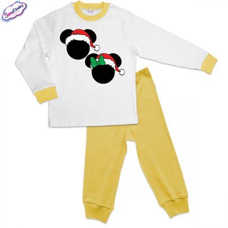 Детска пижама жълто бяло Коледни Микимаски