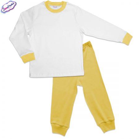 Детска пижама жълто и бяло