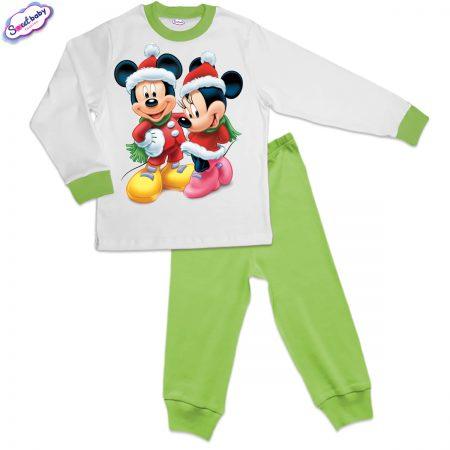 Детска пижама зелено Мики и Мини на Коледа