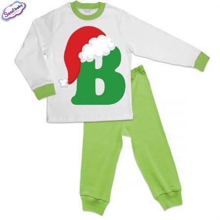 Детска пижама зелено бяло В шапка