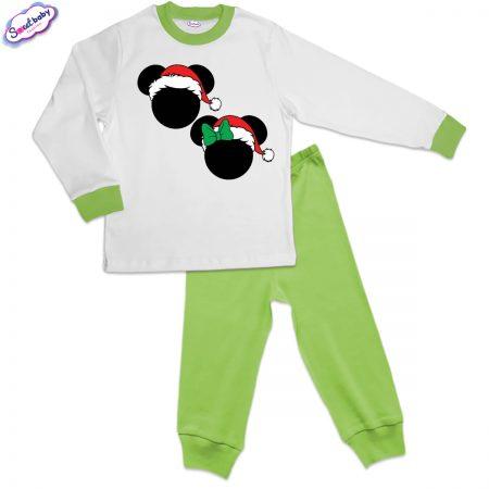 Детска пижама зелено бяло Коледни Микимаски