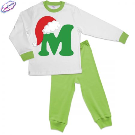 Детска пижама зелено бяло М шапка