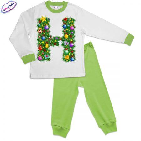 Детска пижама зелено бяло Н Коледа