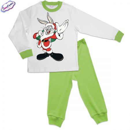 Детска пижама зелено бяло Bunnychristmas