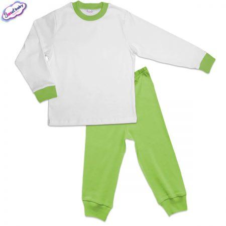 Детска пижама зелено и бяло