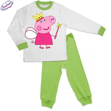 Детска пижама зелено и бяло Peppa