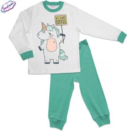 Детска пижама мента Еднорог с табелка