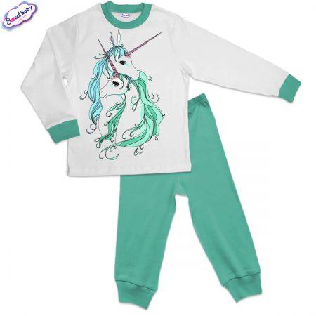 Детска пижама мента бяло Красиви еднорози