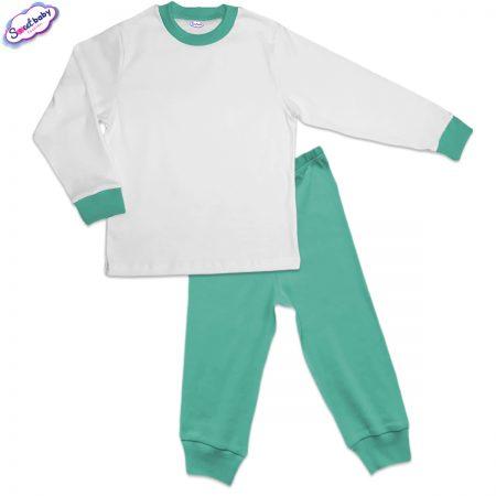 Детска пижама мента и бяло