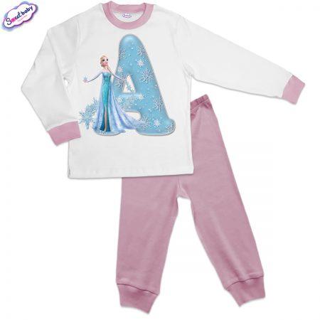 Детска пижама розово и бяло А