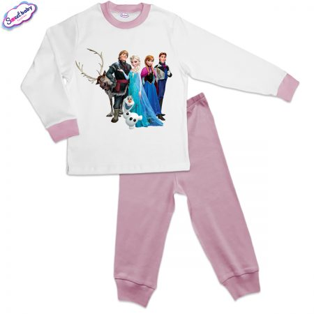 Детска пижама розово и бяло Frozen
